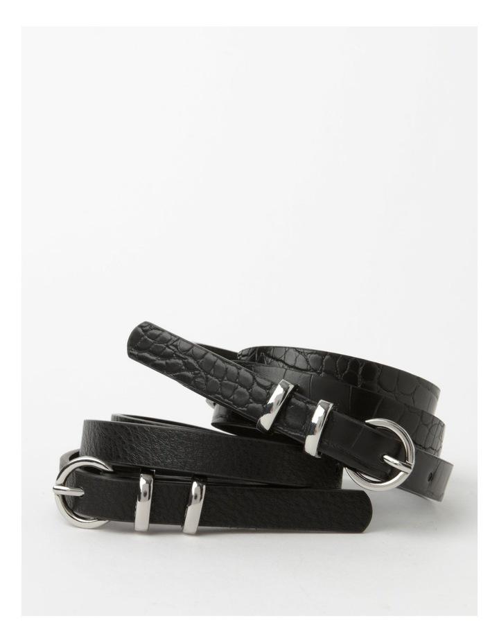 Skinny Solid Black Buckle Belt 2 Piece Pack image 1