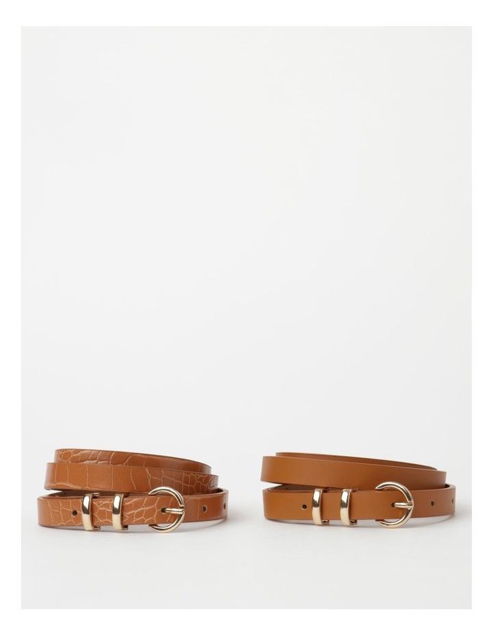 Skinny Solid Tan Buckle Belt 2 Piece Pack image 1