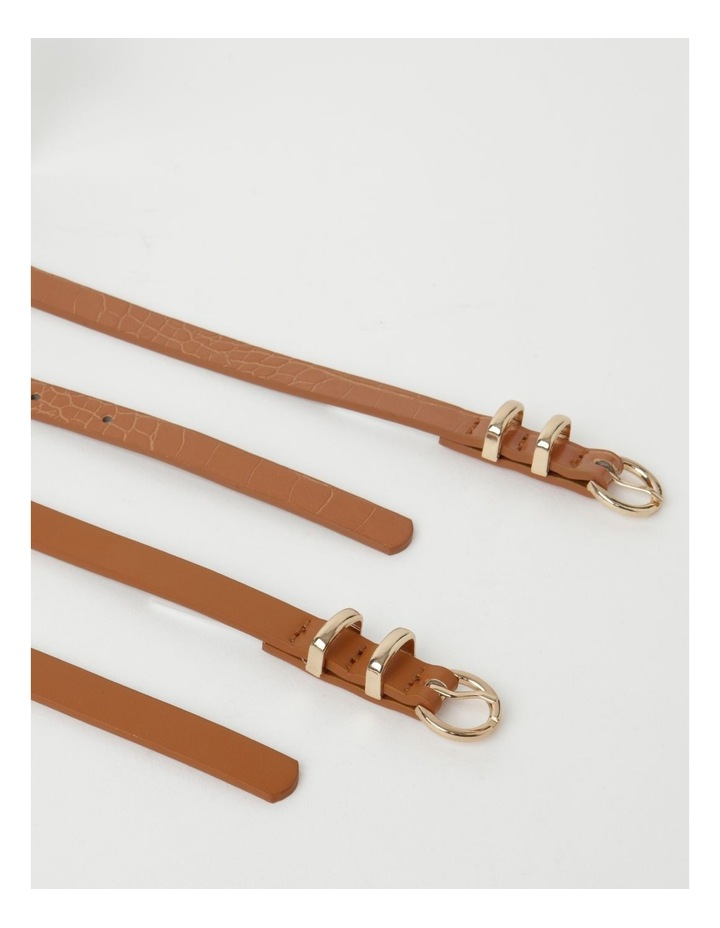 Skinny Solid Tan Buckle Belt 2 Piece Pack image 4