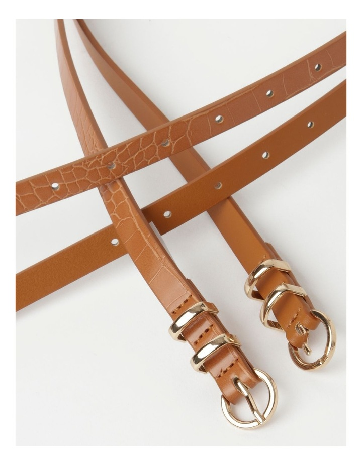 Skinny Solid Tan Buckle Belt 2 Piece Pack image 5