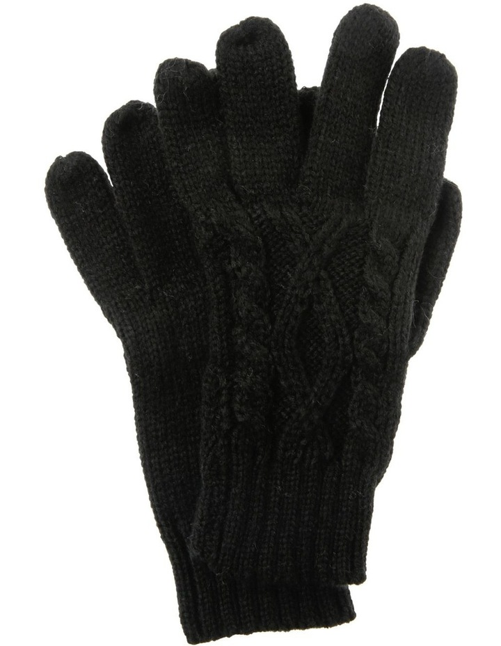 Black Gloves with Cable Knit Detail image 1