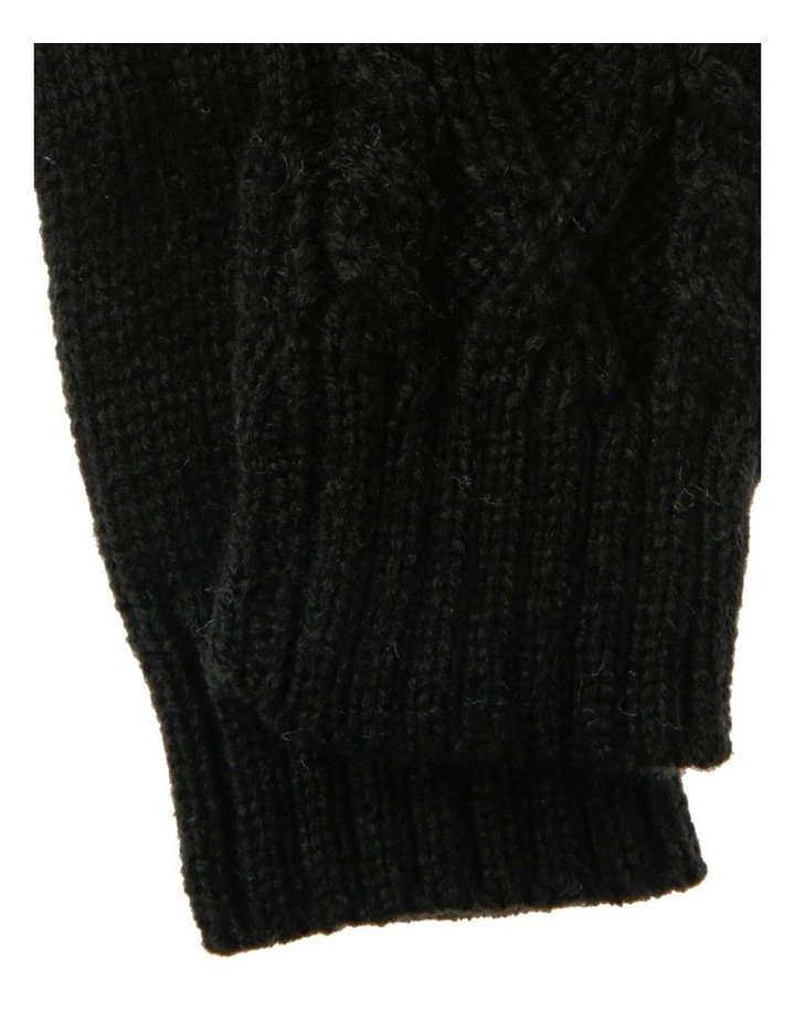 Black Gloves with Cable Knit Detail image 2