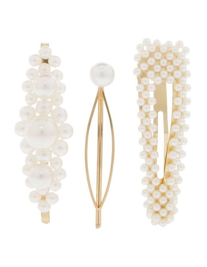 Set Of 3 Pearl Hair Clips image 1