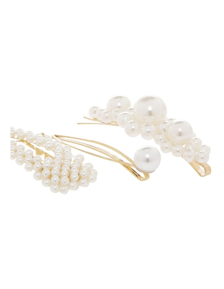 Set Of 3 Pearl Hair Clips image 3
