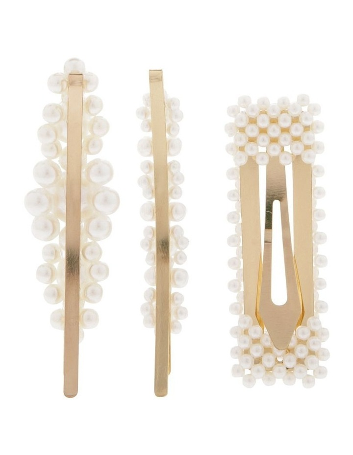 Set Of 3 Pearl Hair Clips image 2