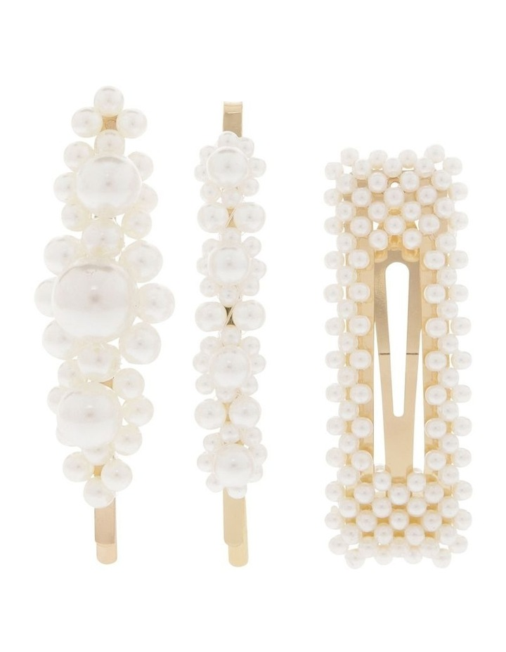Set of 3 Pearl Clips Hair Accessory image 1