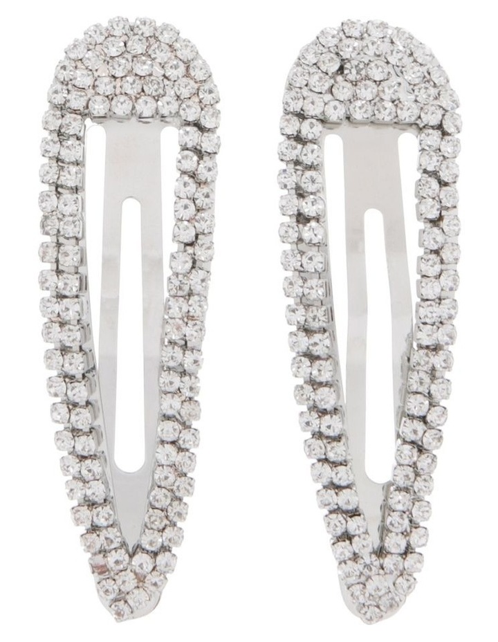 2 Pack Diamante Snap Clips image 1