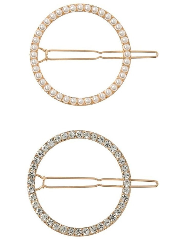 2 Pack Round Pearl & Diamante image 1
