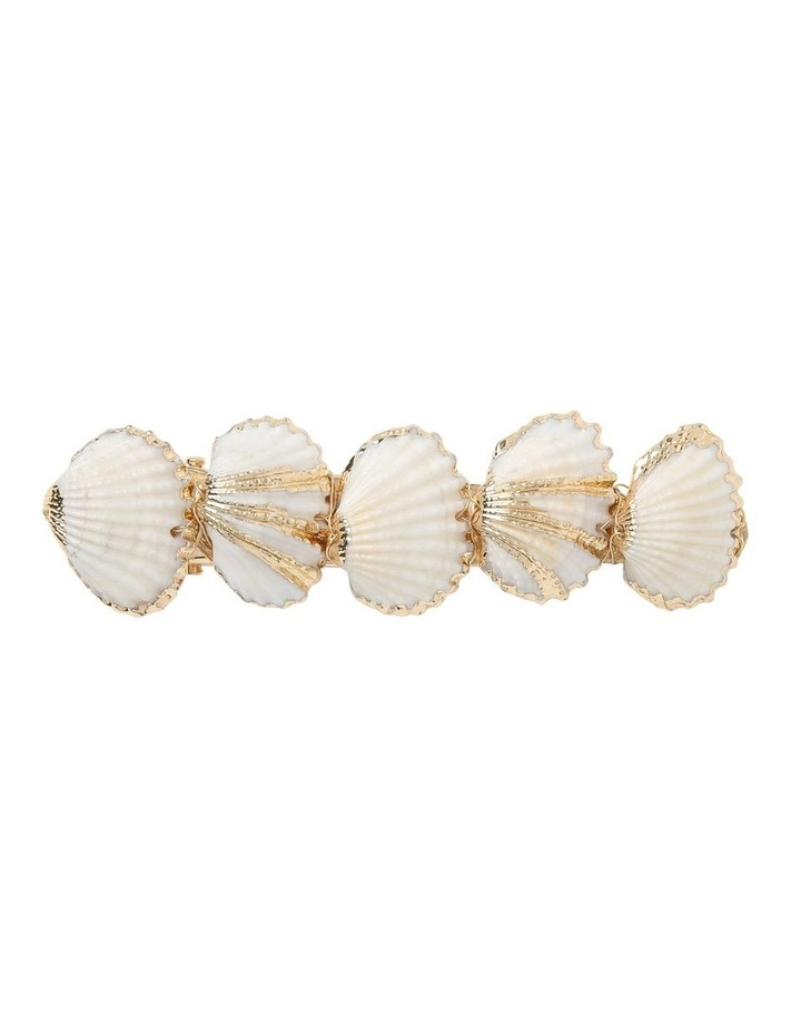 Shell Barette With Gold Trim image 1