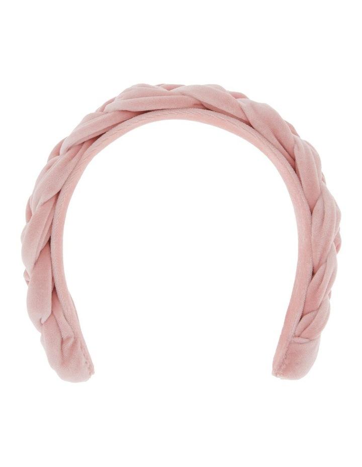 Plait Velvet Headband in Blush image 1