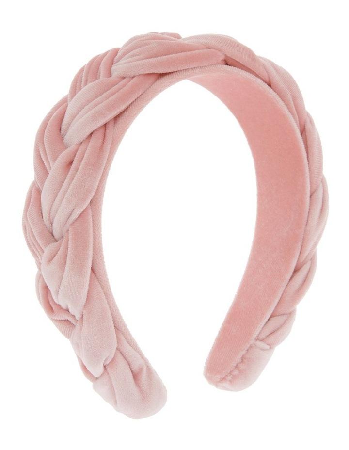 Plait Velvet Headband in Blush image 2