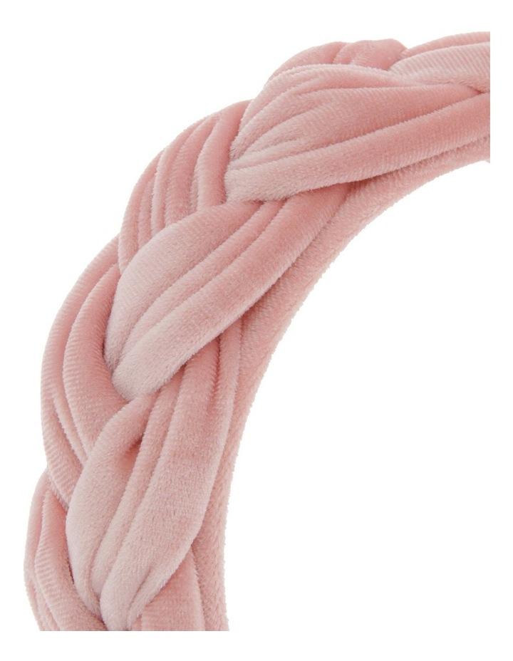 Plait Velvet Headband in Blush image 3