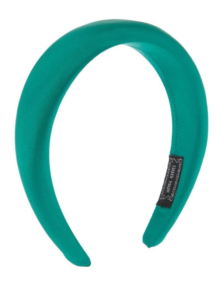 Padded Satin Headband in Emerald Green image 2