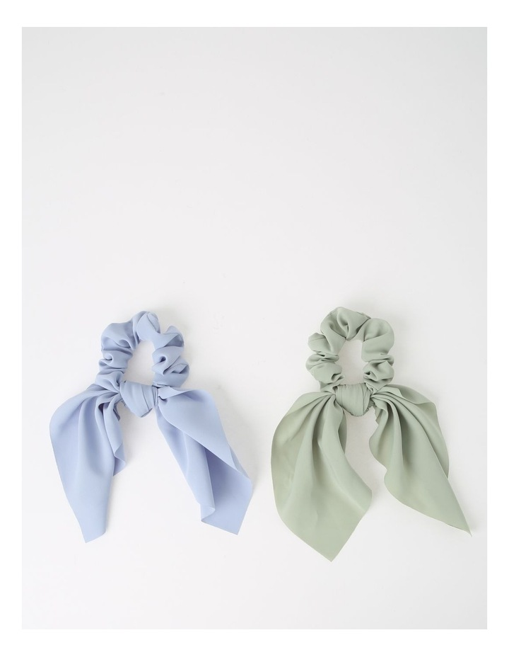 Green/Blue Scrunchie With Short Tie 2 Piece Pack image 1