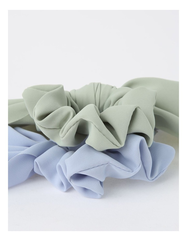 Green/Blue Scrunchie With Short Tie 2 Piece Pack image 3