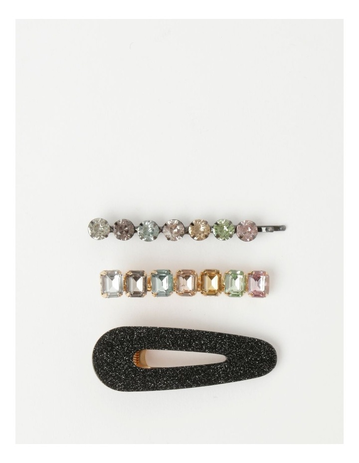 Assorted Hair Clip With Glitter and Diamante Detailing 3 Piece Pack image 1