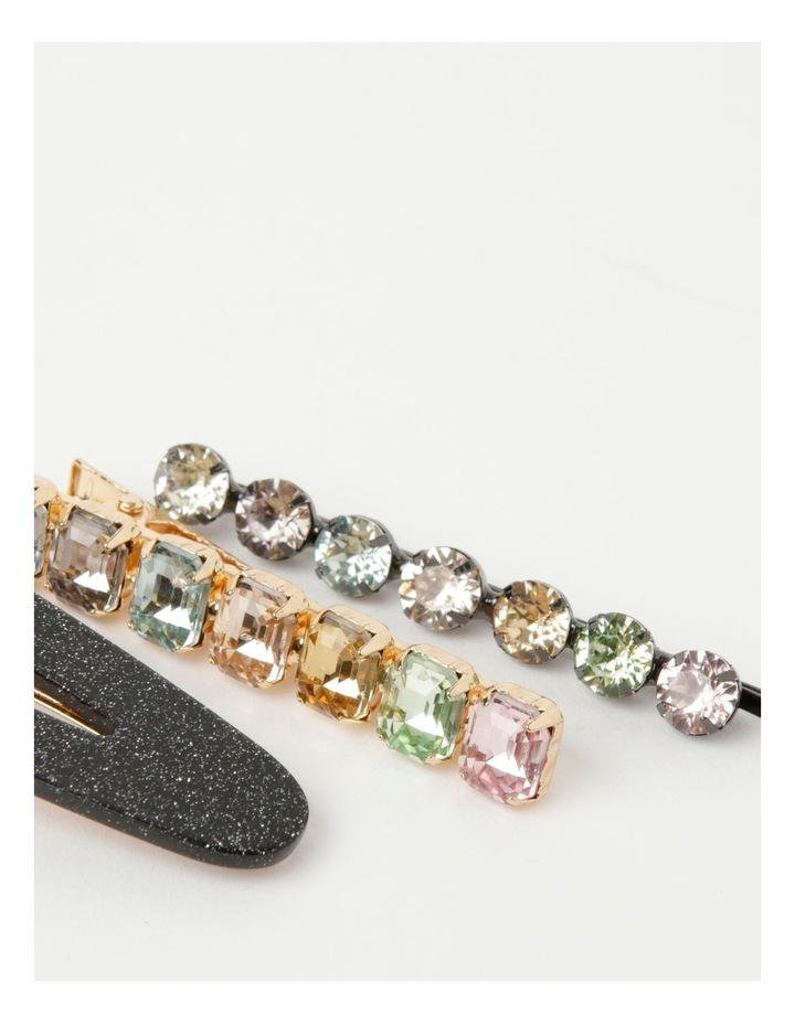 Assorted Hair Clip With Glitter and Diamante Detailing 3 Piece Pack image 3