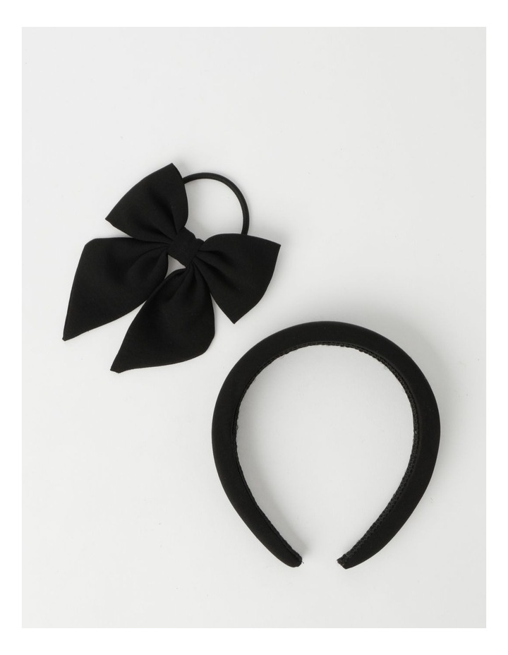 2 Pack Black Matching Headband/Hair Tie Set image 1