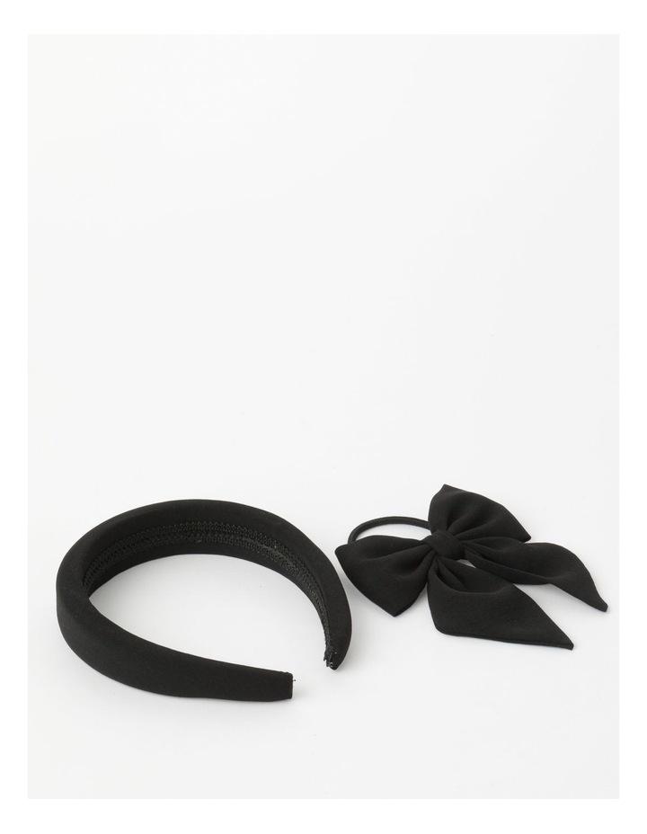 2 Pack Black Matching Headband/Hair Tie Set image 3