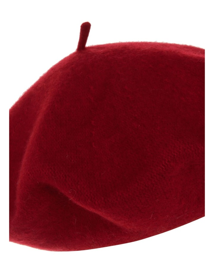 Red Solid Wool-Blend Beret image 3