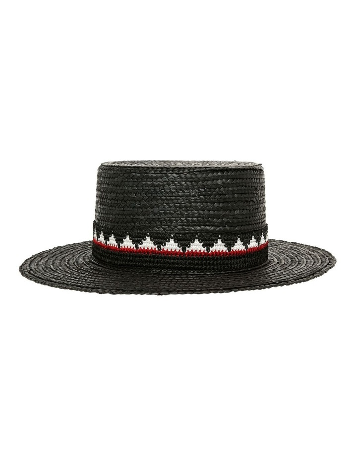 High Boater Hat With Pattern Trim Summer Hat image 1