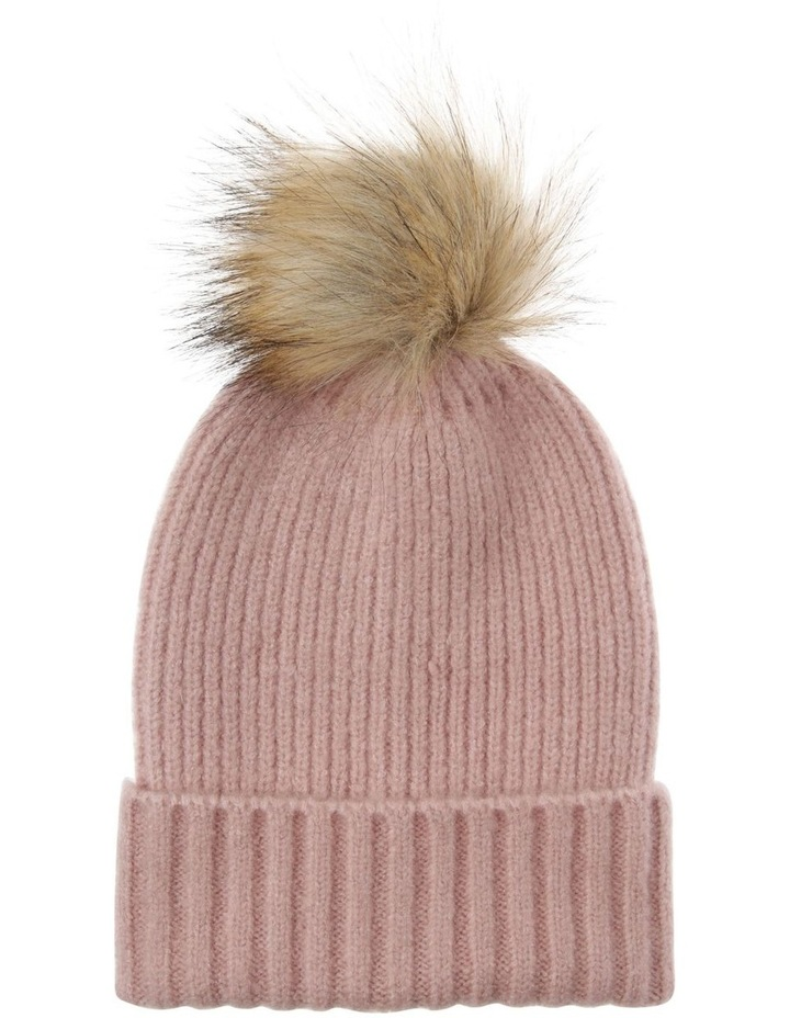 Soft Knit Beanie with Natural Pompom image 1