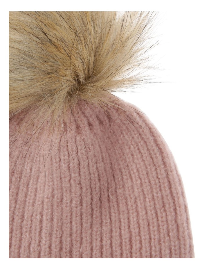Soft Knit Beanie with Natural Pompom image 2