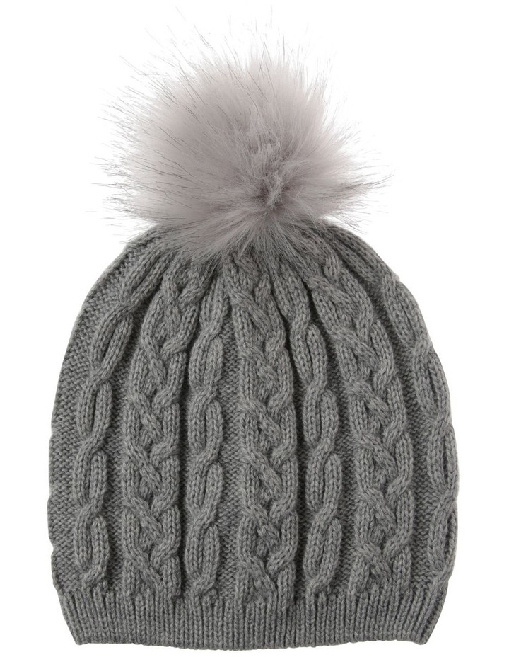 Grey Cable-Knit Beanie with Pompom image 1