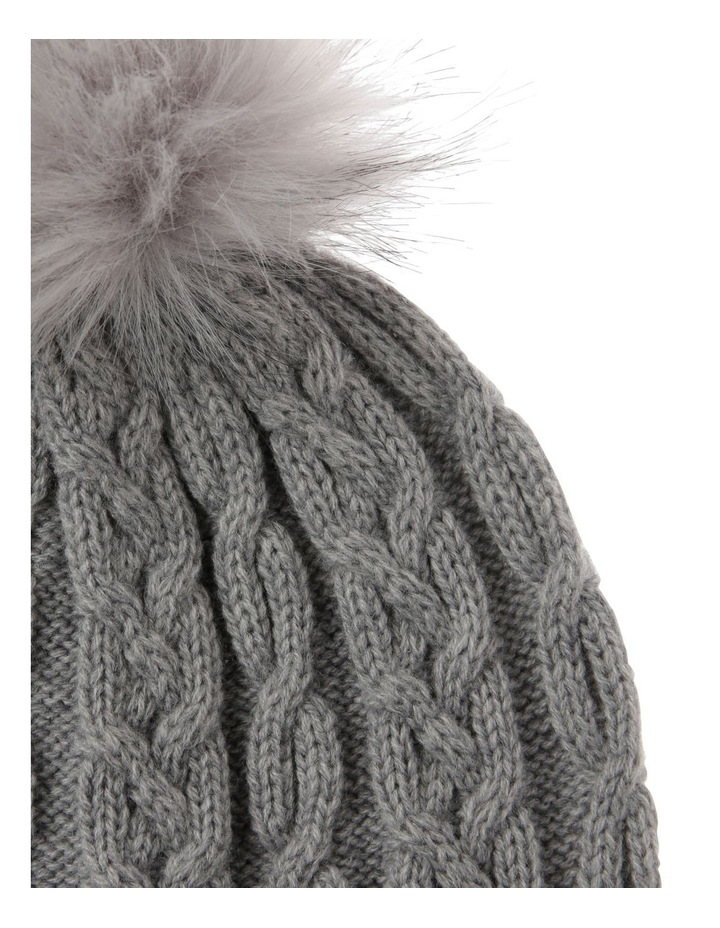 Grey Cable-Knit Beanie with Pompom image 2