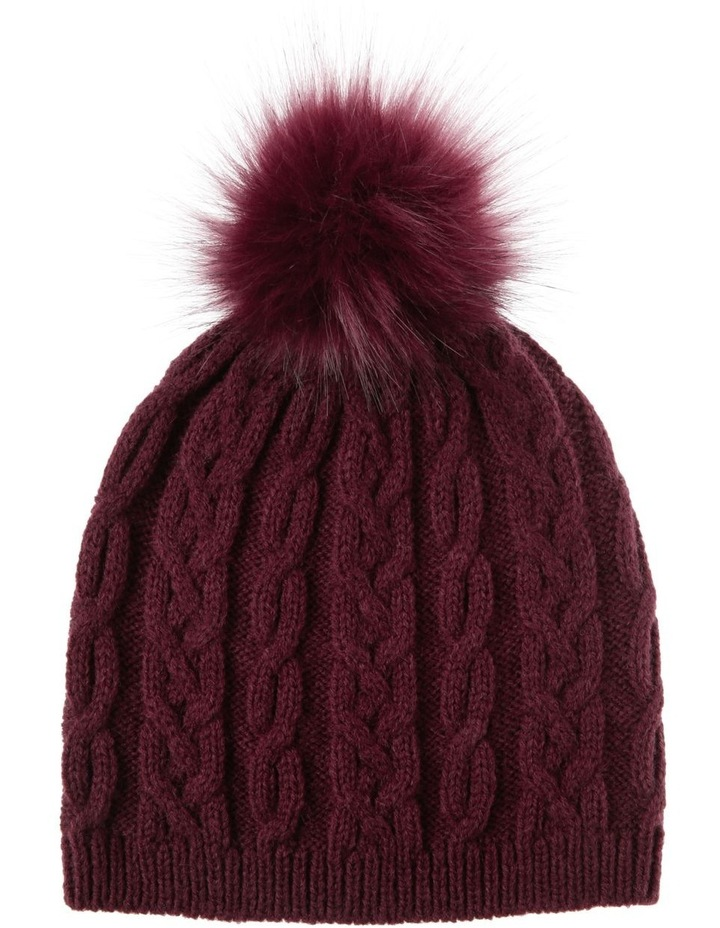 Red Cable-Knit Beanie with Pompom image 1