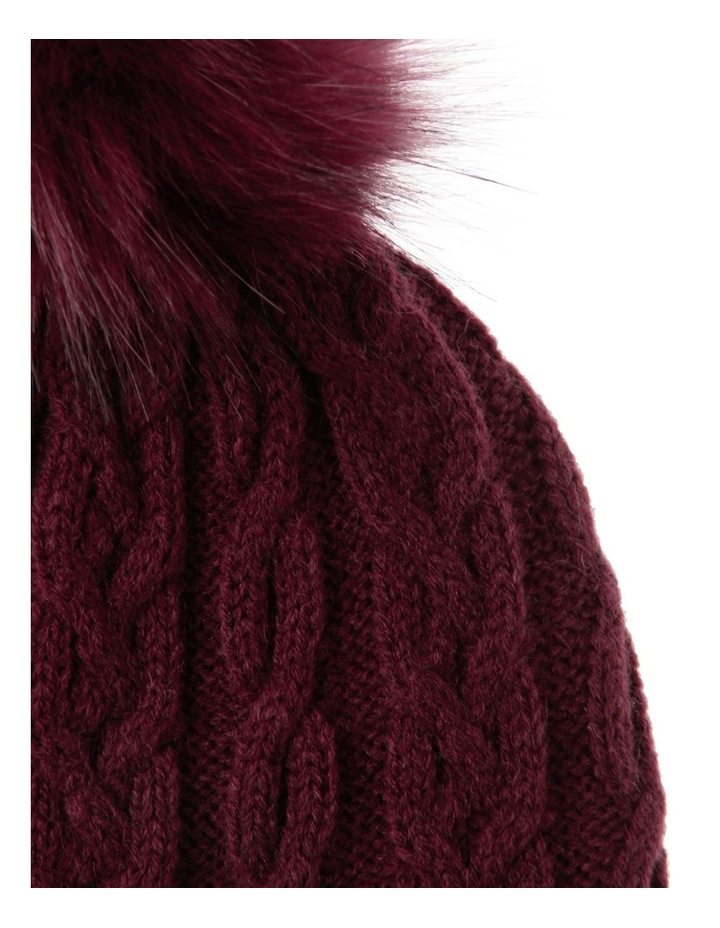 Red Cable-Knit Beanie with Pompom image 2