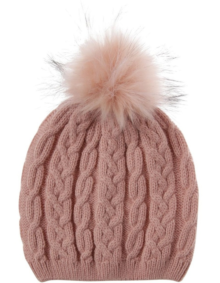 Blush Pink Cable-Knit Beanie with Pompom image 1