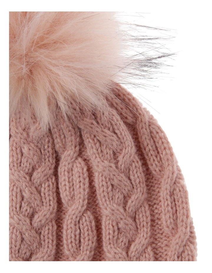 Blush Pink Cable-Knit Beanie with Pompom image 2