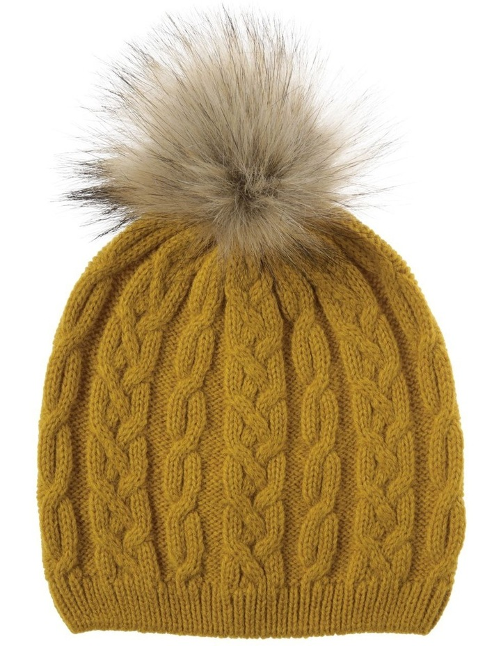 Mustard Cable-Knit Beanie with Pompom image 1