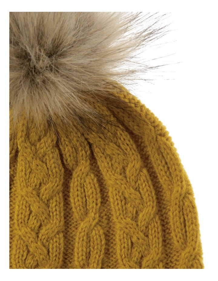 Mustard Cable-Knit Beanie with Pompom image 2