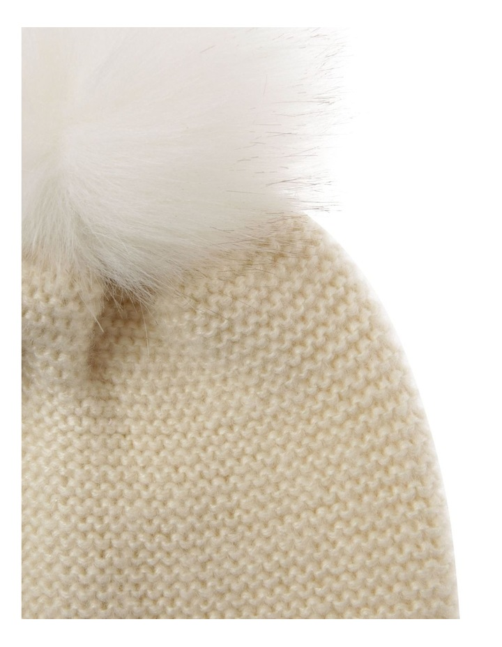 Knit Beanie With Matching Fur Pom image 2
