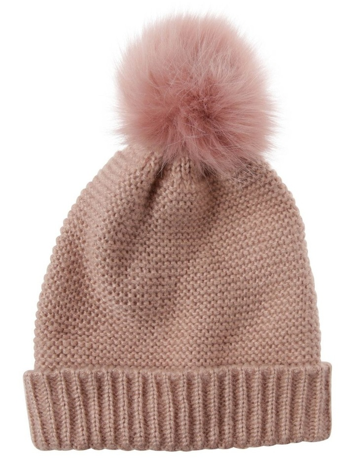 Knit Beanie With Matching Fur Pom image 1