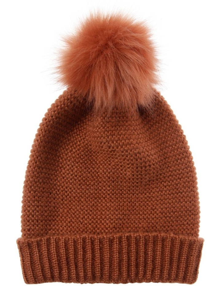 Rust Orange Knit Beanie with Matching Fur Pompom image 1