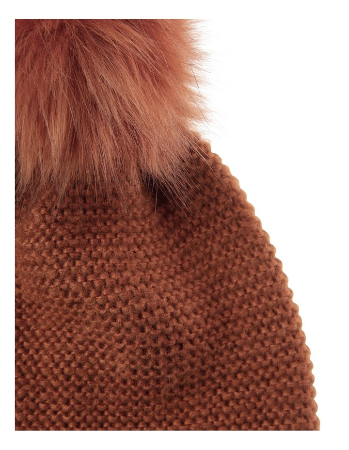 Rust Orange Knit Beanie with Matching Fur Pompom image 2