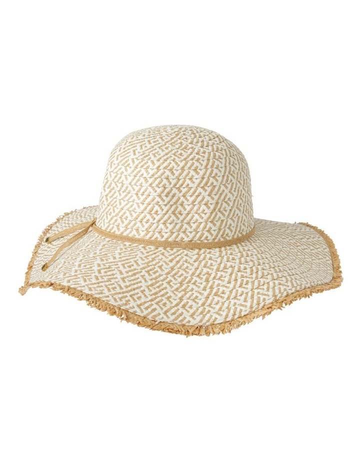 Two Tone Pattern Weave with Frayed Edge Summer Hats image 2