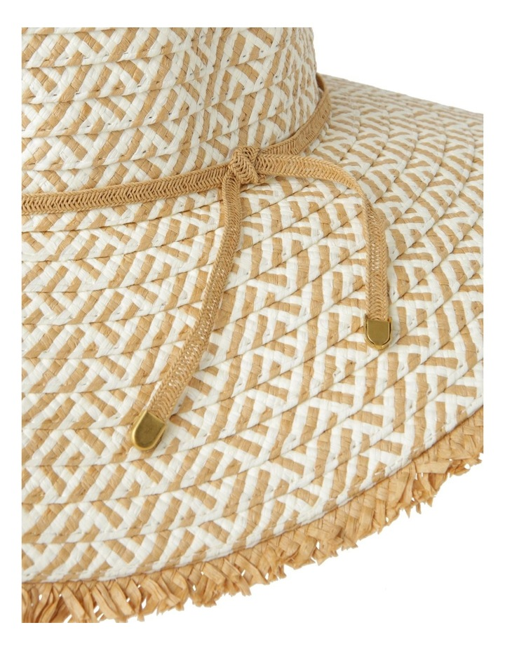 Two Tone Pattern Weave with Frayed Edge Summer Hats image 4