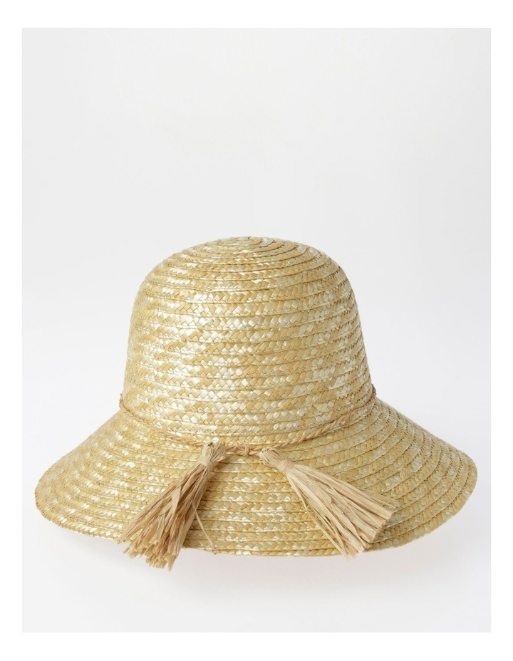 Straw Summer Hat with Tassel Trim image 3