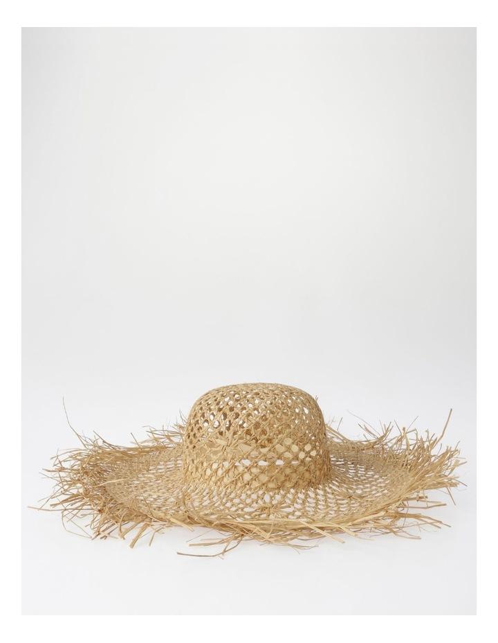 Open Weave Summer Hat with Fringe Edge image 1