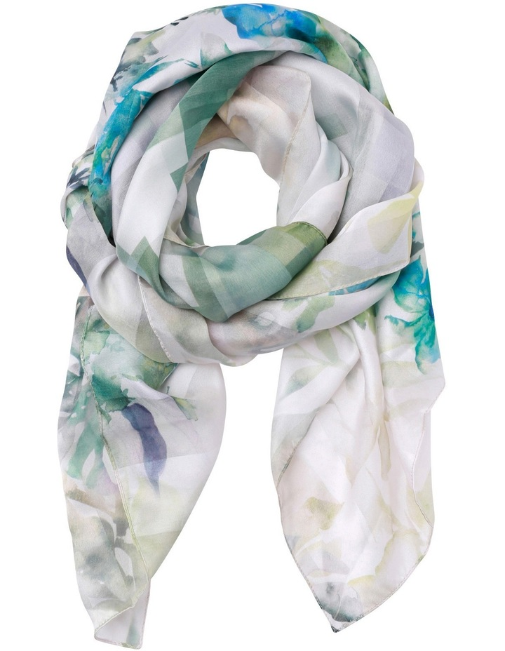 Stripe Oblong Scarf with Painted Flower Ends image 1