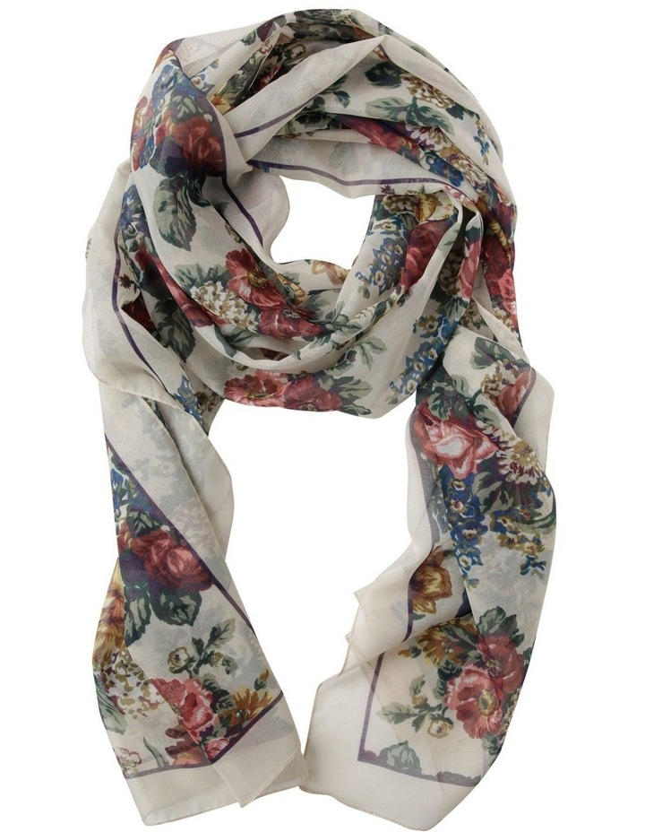 Romantic Floral Scarf - Ivory image 1