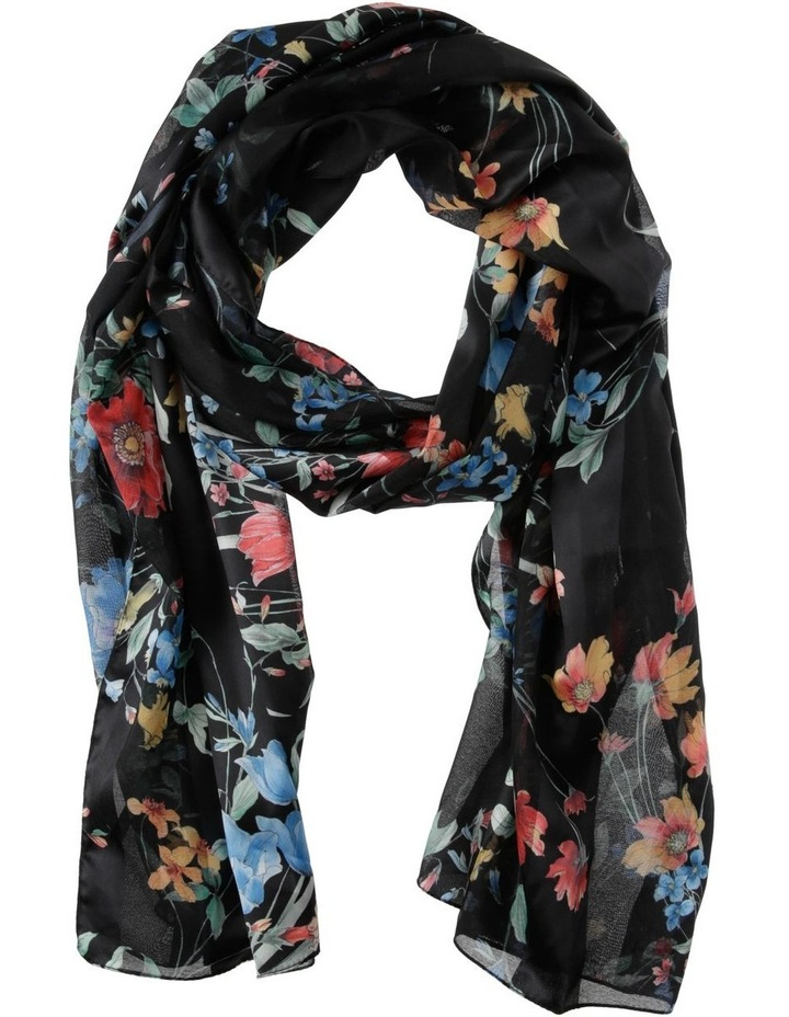 Satin Stripe Bright Floral Scarf image 1
