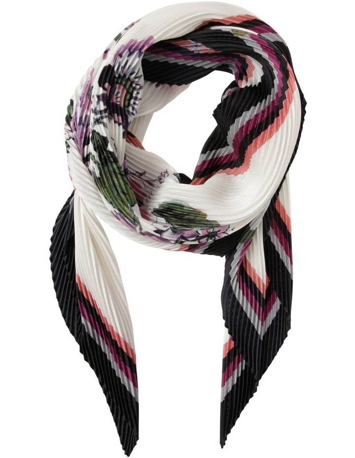 Pleated Floral And Border Scarf image 1