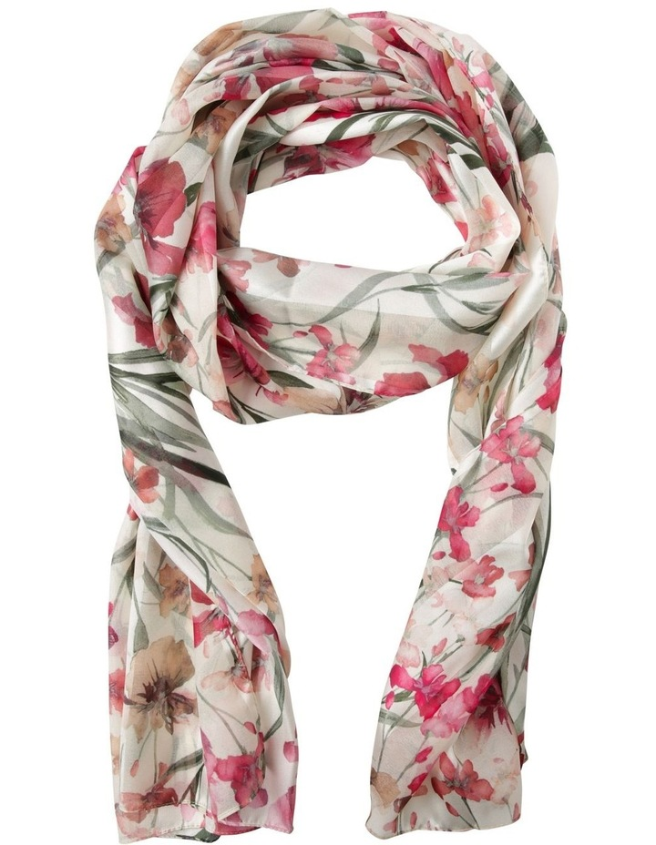 Satin Stripe Orchid Flower Scarf - Ivory image 1