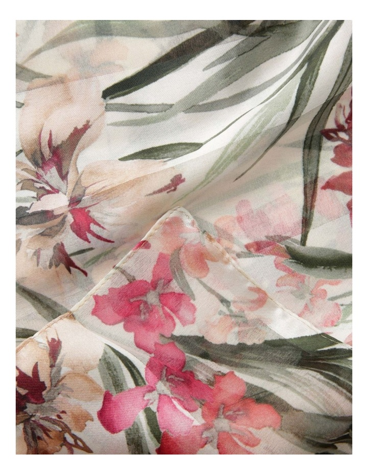 Satin Stripe Orchid Flower Scarf - Ivory image 2