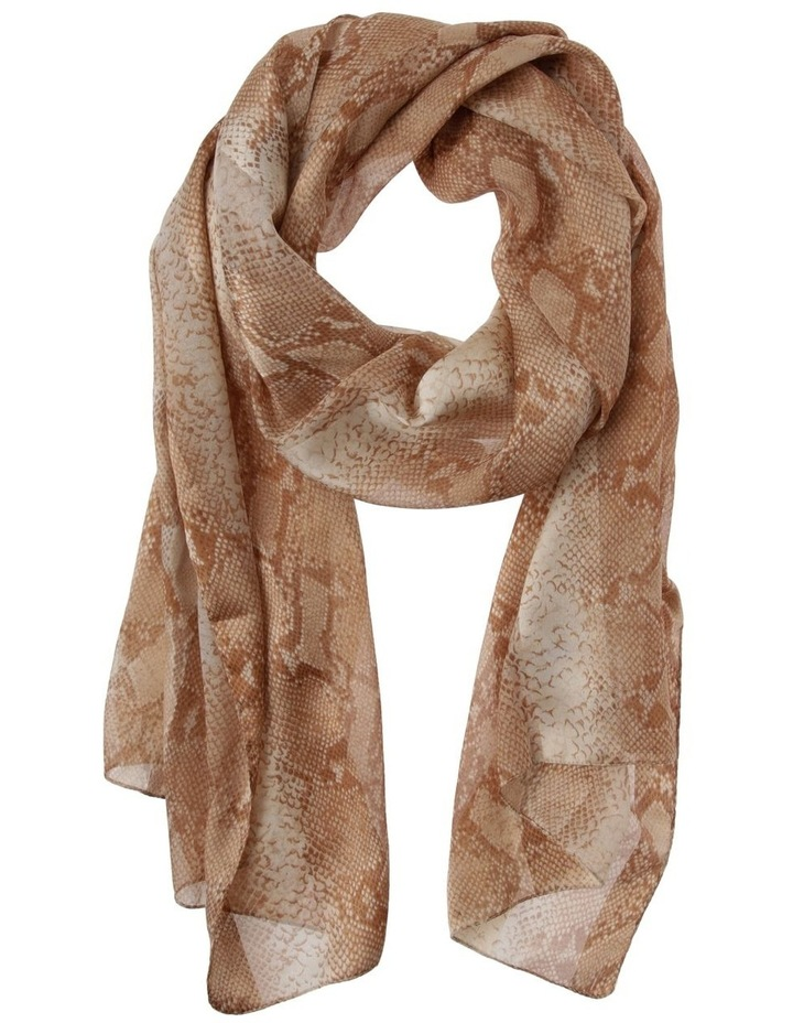 Snake Print With Satin Stripe Scarf image 1